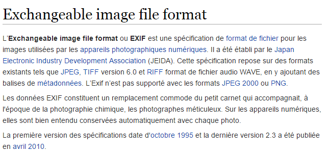 données exif selon wikipedia