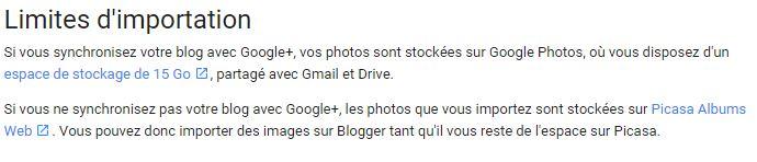limite importation fichiers images media blogger