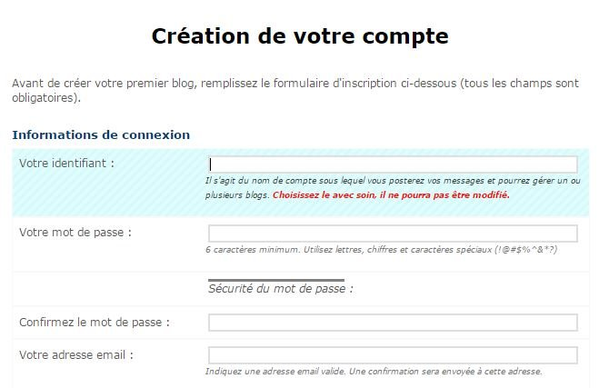 creation compte canalblog