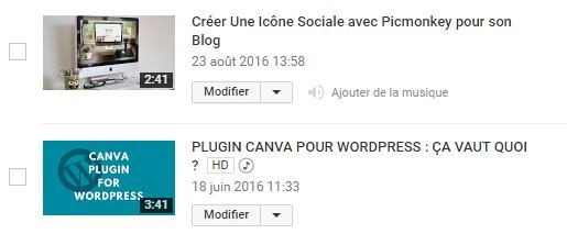 vignettes videos youtube avec ou sans contenu audio