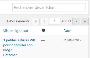 nombre de fichiers medias bibliothèque wordpress