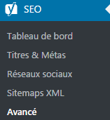 Sous menu Avancé du Plugin SEO by YOAST