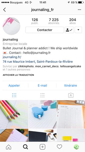 compte instagram Journaling