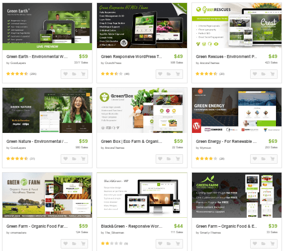 Thèmes WordPress Green chez Themeforest