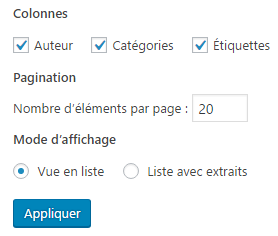 Nombre d articles par page - options ecran WP