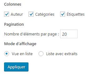 Nombre d articles par page - options ecran WP