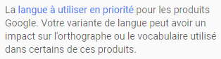 Langue My business google