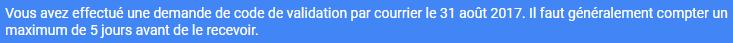 Message D attente validation etablissement google my Business