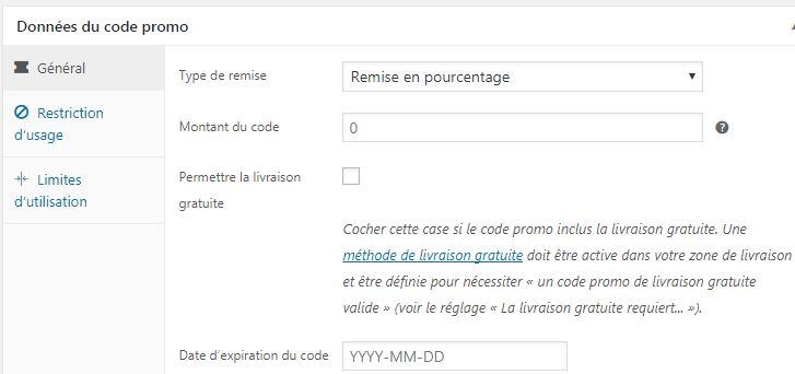 Config code promo woocommerce