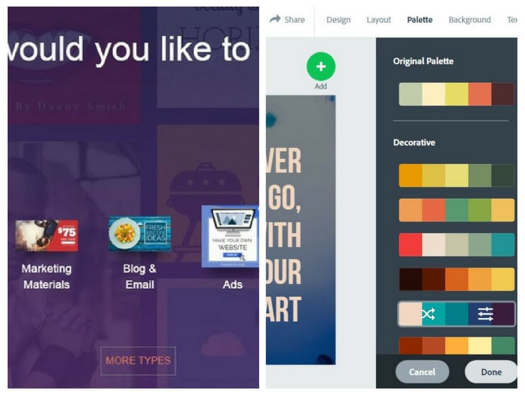 Deux Alternatives a picmonkey et canva - Design Wizard et Adobe Spark