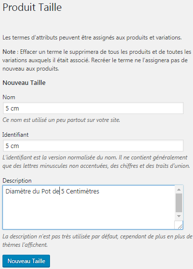 Exemple attribut woocommerce