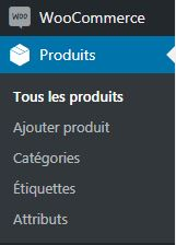 Menu Produits Woocommerce wordpress