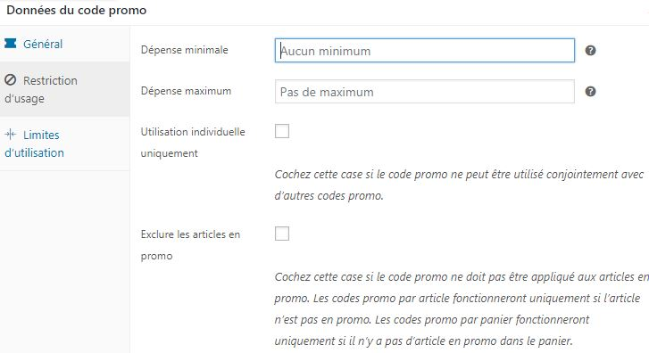 Restrictions usage code promo woocommerce