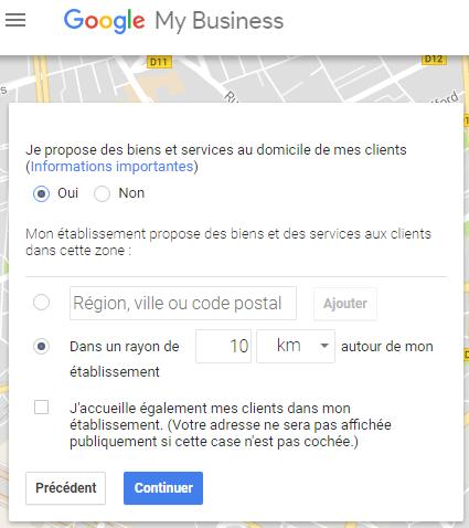 Zone d exercice de l activite professionnel avec secteur geographique google my business