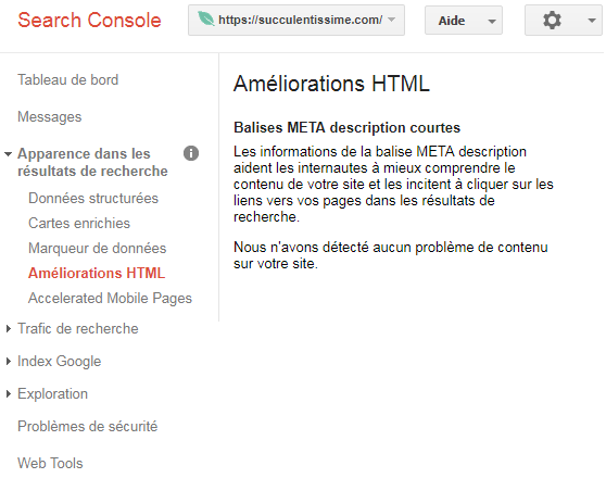Amelioration html Google Search Console