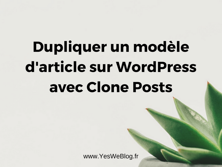 Dupliquer un modèle d article ou Page sur WordPress avec Clone Posts
