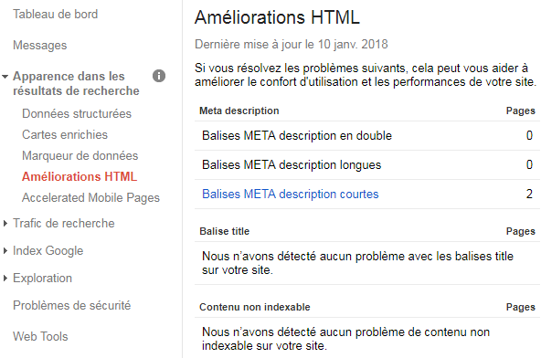 Suggestion d Amelioration html Google Search Console
