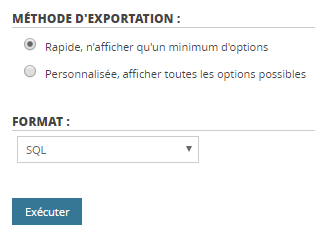 Export base de données MySQL