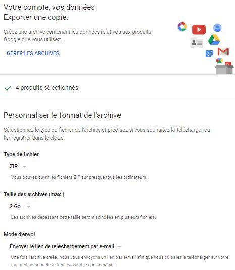 Exporter copie données google+