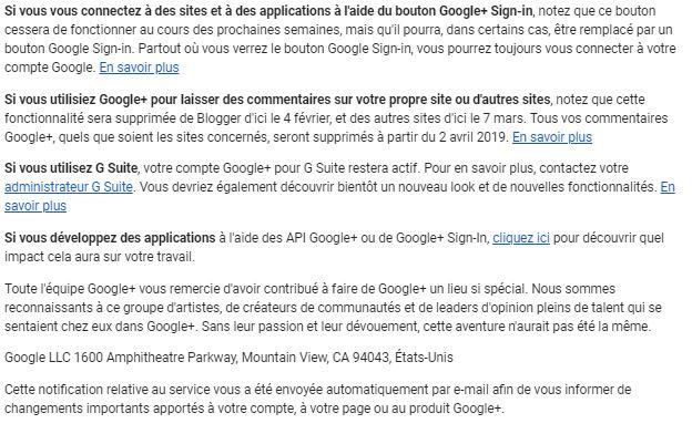 Mail fermeture Google+ pour particuliers suite