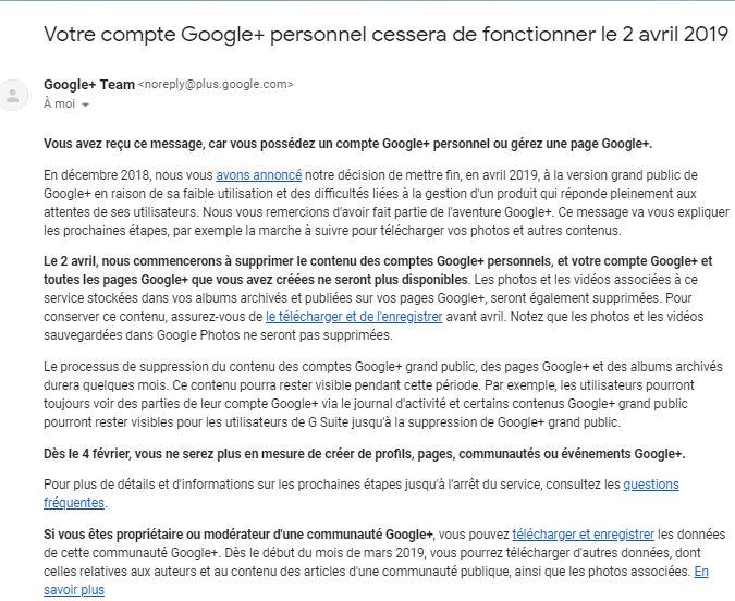 Mail fermeture Google+ pour particuliers