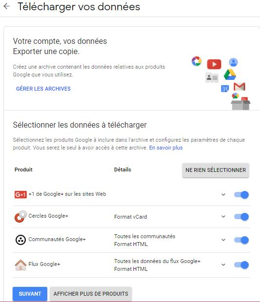 Telecharger donnees Google+