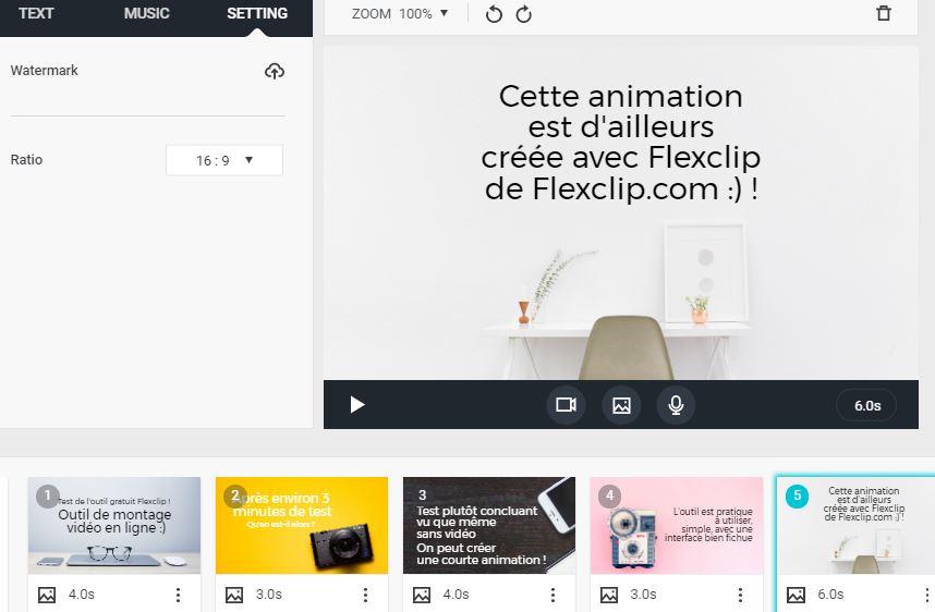 Dasboard de l outil gratuit de montage et creation de video Flexclip