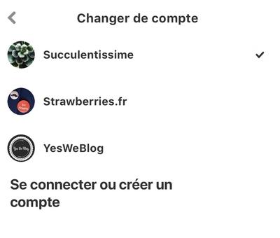 Liste de comptes Pinterest sur iPhone