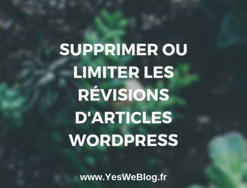 Comment Supprimer ou Limiter les Révisions d'articles WordPress