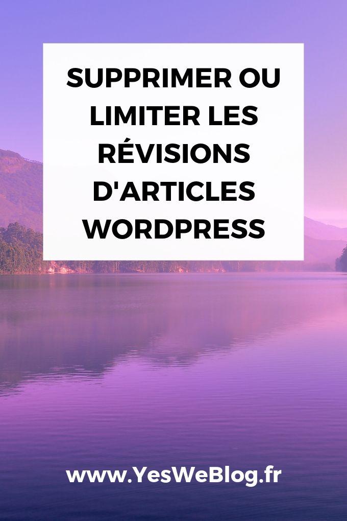 Supprimer ou Limiter les Révisions d'articles WordPress