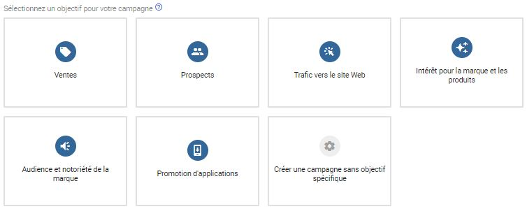 Choix objectif campagne google ads