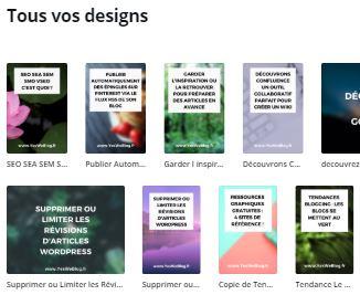Designs enregistrés sur Canva