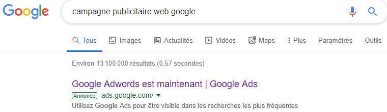 Google ads annonce moteur de recherches