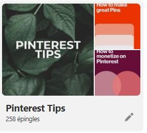 Tableau astuces Pinterest couverture sur desktop