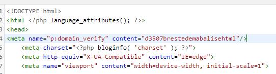 balise html pinterest dans head