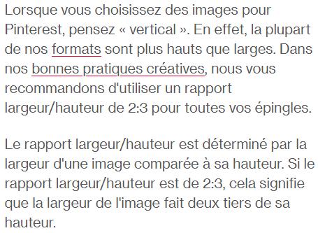 Dimensions préconisées par Pinterest pour des images Pinterest Friendly