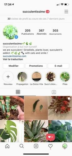 Page de profil instagram
