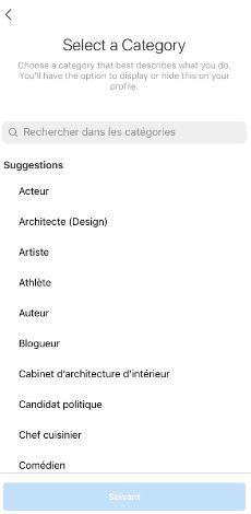choisir une catégorie instagram