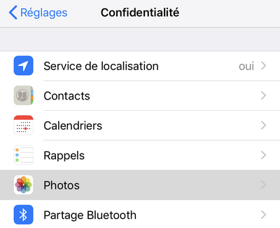 MENU LOCALISATION IPHONE