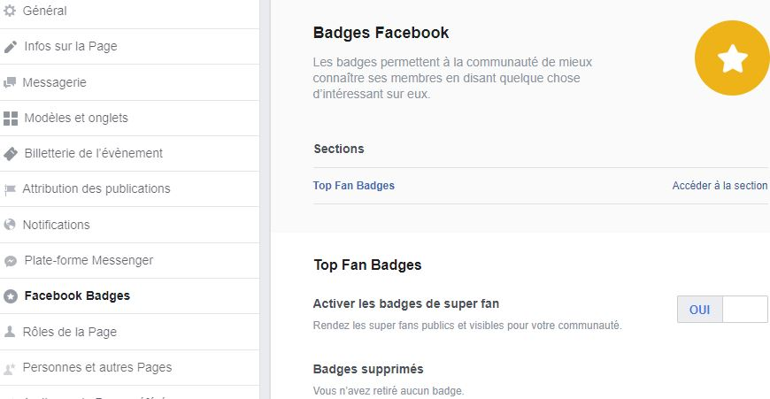 activer top fan badges page facebook