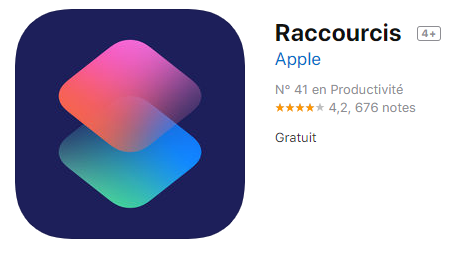 application raccourcis app store