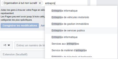 categories de page facebook entreprise