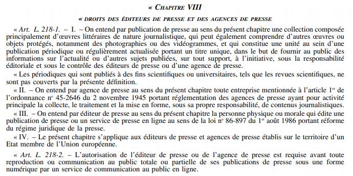 droits des editeurs de presse et des agences de presse