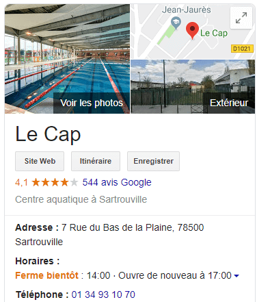 google my business piscine de sartrouville