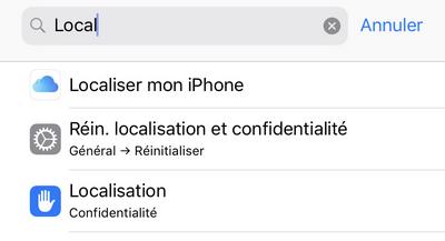 recherche menu localisation iphone