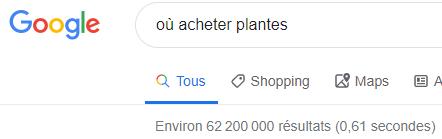 requete google où acheter plantes