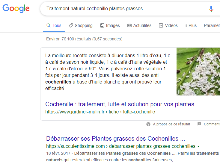 requete traitement naturel cochenille plantes grasses