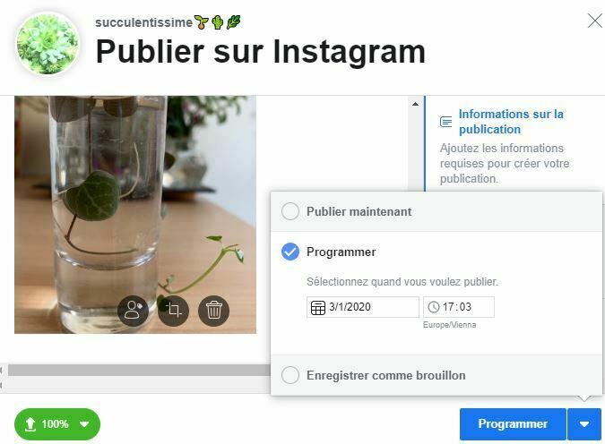 programmation publication instagram depuis creator studio