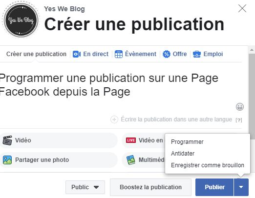 programmation publication page facebook depuis creator studio