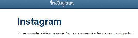 compte instagram supprime